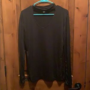 Choker neck with cut out long sleeve tee